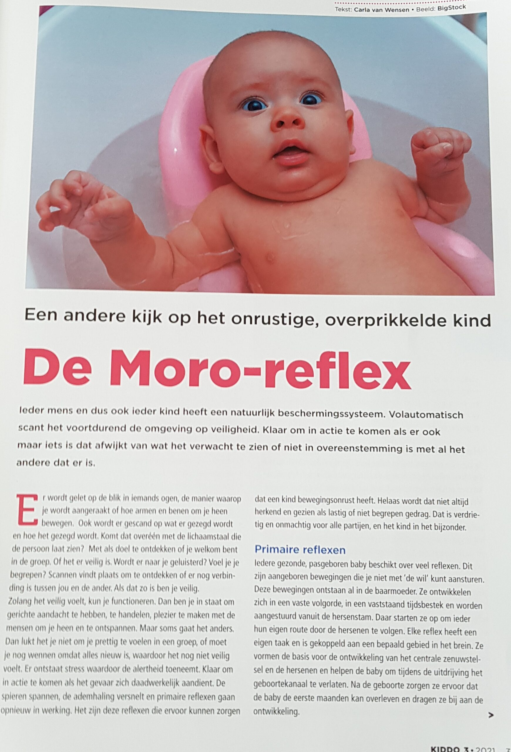 artikel over de moro-reflex in Kiddo juni 2021